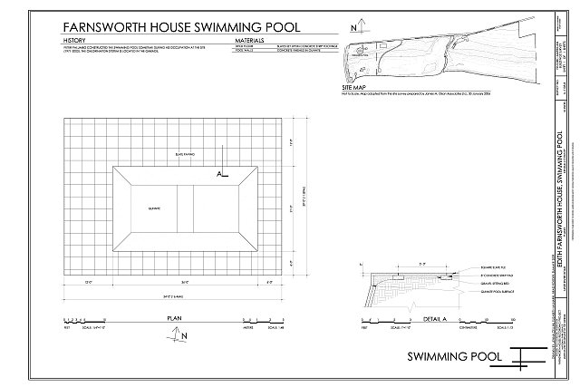 Site map plan and detail edith farnsworth house for Swimming pool site plan