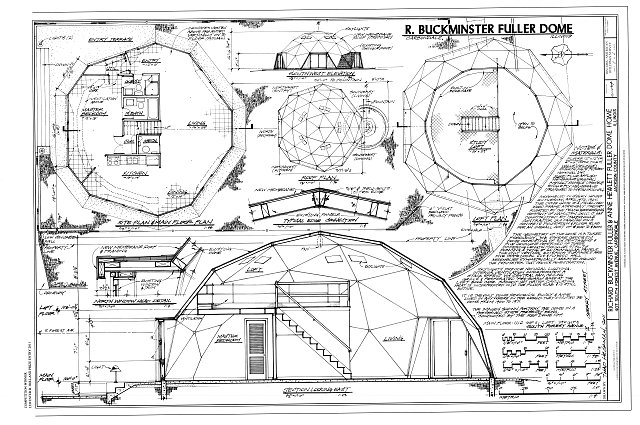 Southwest elevation, roof plan, site plan & main floor plan, loft plan, section looking east, north window head detail - Richard Buckminster Fuller & Anne Hewlett Fuller Dome Home, 407 South Forest Avenue, Carbondale, Jackson County, IL