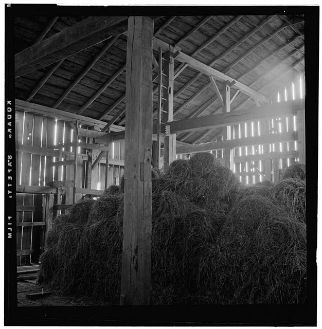 7.  HISTORIC AMERICAN BUILDINGS SURVEY DOROTHY REED, PHOTOGRAPHER OCT. 1956 BARN LOFT - Ames-Paton House, Pinola, La Porte County, IN