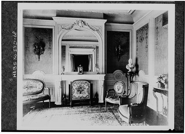 4.  Historic American Buildings Survey PHOTOCOPY CA. 1916 OF FRENCH ROOM LOOKING AT NORTH END OF ROOM. WALLS COVERED IN SILK WITH HAND- EMBROIDERED APPLIQUES. NOTE CARVINGS AND MOLDINGS IN WHITE GUM WOODWORK. FLOORS ARE PARQUET. Original in Collections of Marian College - James A. Allison Mansion, 3200 Coldspring Road, Indianapolis, Marion County, IN