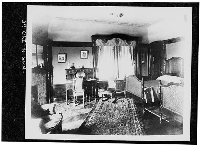 9.  Historic American Buildings Survey PHOTOCOPY CA. 1916 OF BEDROOM-QUALITY CARVED WHITE MAHOGANY MOLDING AND FIREPLACE MANTLE WHICH SURROUNDS MARBLE FIREPLACE Original in Collections of Marian College - James A. Allison Mansion, 3200 Coldspring Road, Indianapolis, Marion County, IN