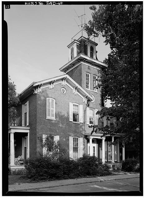 August 1970 VERTICAL VIEW OF THE EAST FRONT TAKEN FROM THE SOUTHEAST - Bates-Hendricks House, 1526 South New Jersey Street, Indianapolis, Marion County, IN
