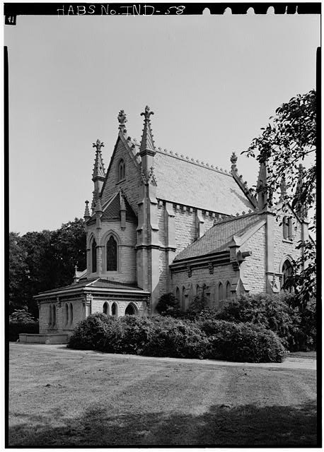 August 1970 VIEW OF WEST (REAR) ELEVATION FROM SOUTHWEST, SHOWING APSE - Crown Hill Cemetery, Chapel & Vault, Thirty-fourth Street, Indianapolis, Marion County, IN