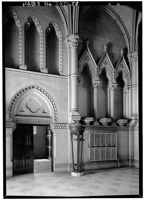 August 1970 INTERIOR VIEW, WESTERN HALF OF SOUTH WALL OF CHAPEL - Crown Hill Cemetery, Chapel & Vault, Thirty-fourth Street, Indianapolis, Marion County, IN