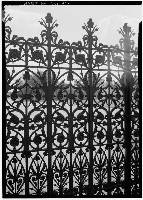 August 1970 DETAIL OF WROUGHT-IRON GATE - Crown Hill Cemetery, Gateway, 3402 Boulevard Place, Indianapolis, Marion County, IN