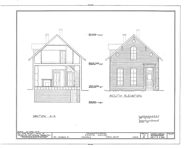HABS IND,49-IND,12- (sheet 5 of 8) - Despa House, 538  Lockerbie Street, Indianapolis, Marion County, IN