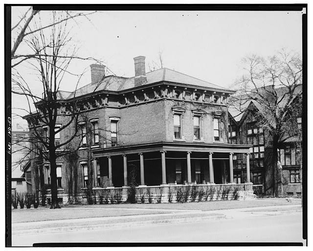 2.  Historic American Buildings Survey EXTERIOR : VIEW TO THE NORTHWEST (SOUTHEAST CORNER OF RESIDENCE) - Benjamin Harrison House, 1230 North Delaware Street, Indianapolis, Marion County, IN