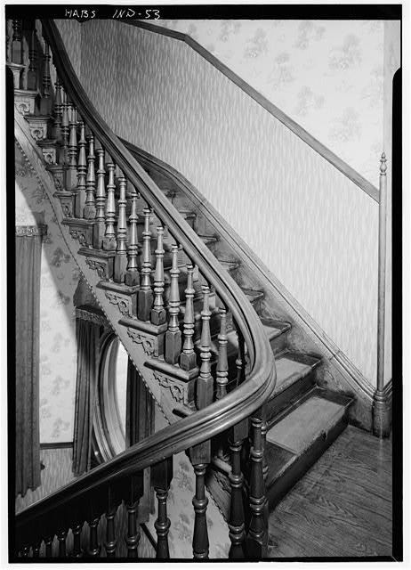 August 1970 STAIRCASE, SECOND FLOOR LANDING, FROM SOUTHWEST - Benjamin Harrison House, 1230 North Delaware Street, Indianapolis, Marion County, IN