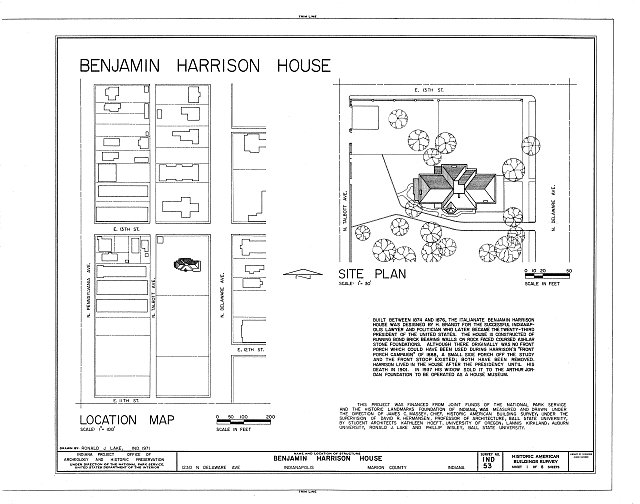 HABS IND,49-IND,10- (sheet 1 of 8) - Benjamin Harrison House, 1230 North Delaware Street, Indianapolis, Marion County, IN