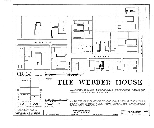 HABS IND,49-IND,11- (sheet 1 of 8) - Webber House, 621 Lockerbie Street, Indianapolis, Marion County, IN