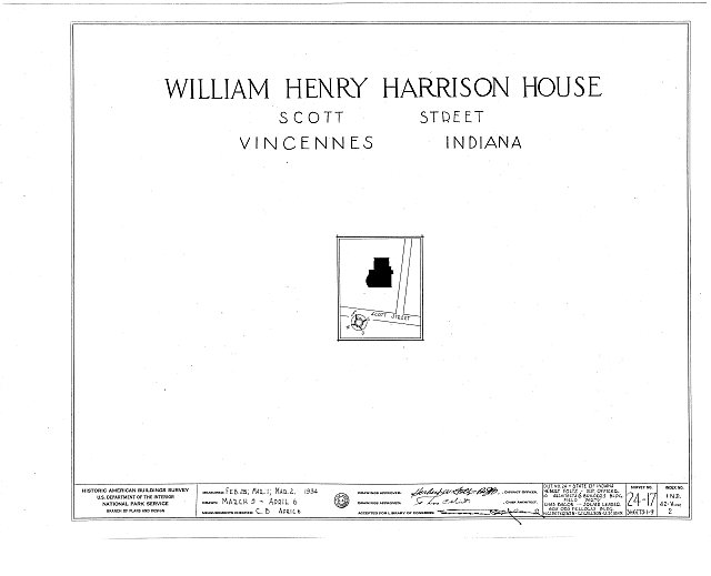 HABS IND,42-VINC,2- (sheet 0 of 9) - William Henry Harrison House, Park & Scott Streets, Vincennes, Knox County, IN