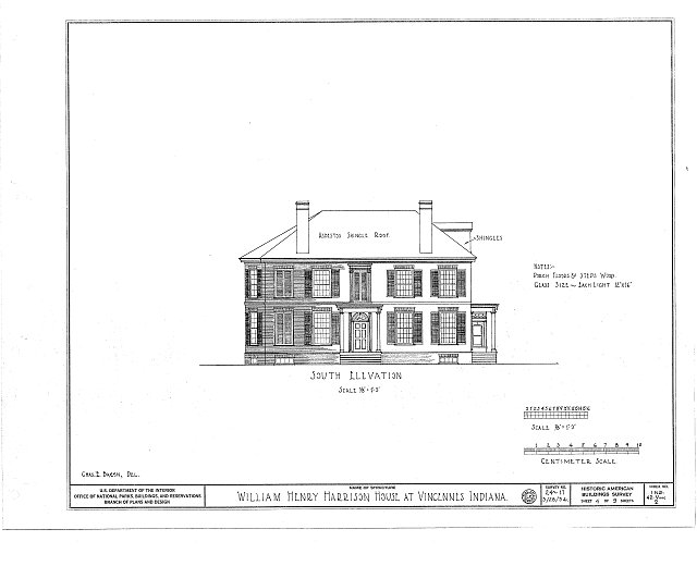 HABS IND,42-VINC,2- (sheet 4 of 9) - William Henry Harrison House, Park & Scott Streets, Vincennes, Knox County, IN