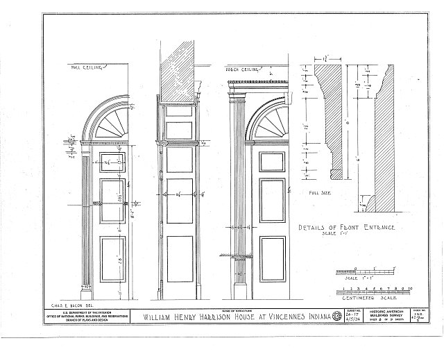 HABS IND,42-VINC,2- (sheet 7 of 9) - William Henry Harrison House, Park & Scott Streets, Vincennes, Knox County, IN