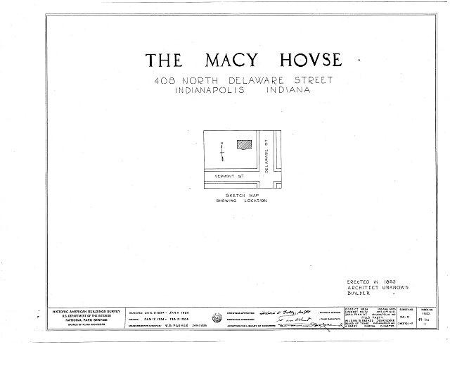 HABS IND,49-IND,1- (sheet 0 of 11) - Macy House, 408 North Delaware Street, Indianapolis, Marion County, IN