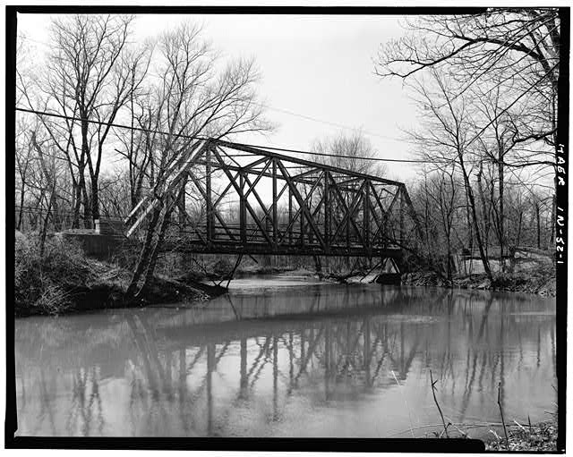 1.  PROFILE VIEW OF WEST SIDE, FACING EAST - Hamilton County Bridge No. 218, Greenfield Pike, spanning Stoney Creek, Noblesville, Hamilton County, IN