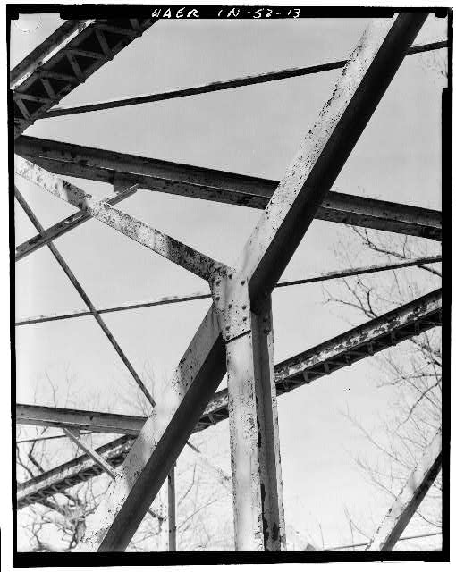 13.  DETAIL VIEW OF TRUSS - Hamilton County Bridge No. 218, Greenfield Pike, spanning Stoney Creek, Noblesville, Hamilton County, IN