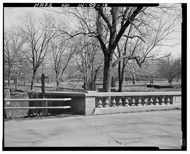 14.  Railing and deck detail, northeast corner, looking southeast. - Pendleton Avenue Bridge, Spanning Fall Creek, Pendleton, Madison County, IN