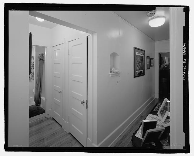 6.  General view of the hallway in Building #441D. - Fort Riley, Carpenter Court Apartments, Building No. 441, 441 Carpenter Avenue, Riley, Riley County, KS
