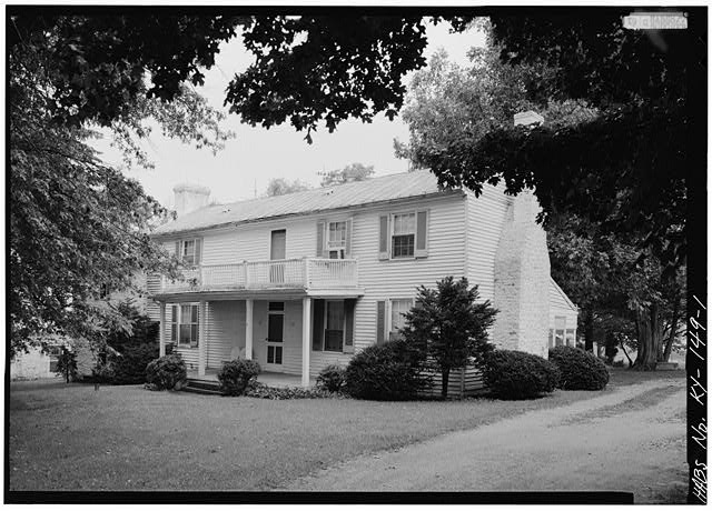 1.  GENERAL VIEW OF MAIN HOUSE, SHOWING EAST (FRONT) ELEVATION, FROM NORTHEAST - Spring Bank Farm, 7506 Old Shepherdsville Road, Louisville, Jefferson County, KY