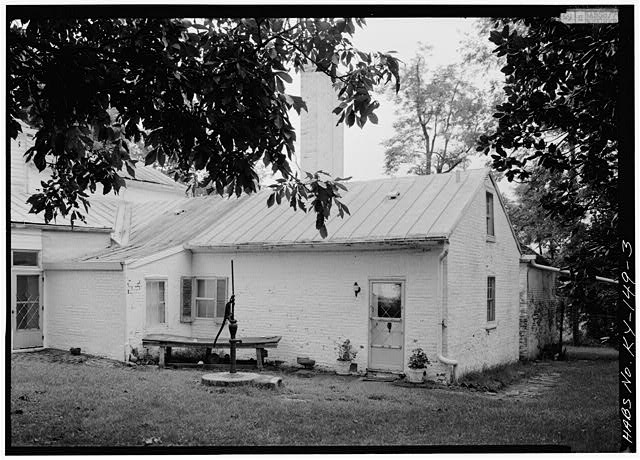 3.  VIEW OF REAR WING OF MAIN HOUSE, FROM NORTHWEST - Spring Bank Farm, 7506 Old Shepherdsville Road, Louisville, Jefferson County, KY