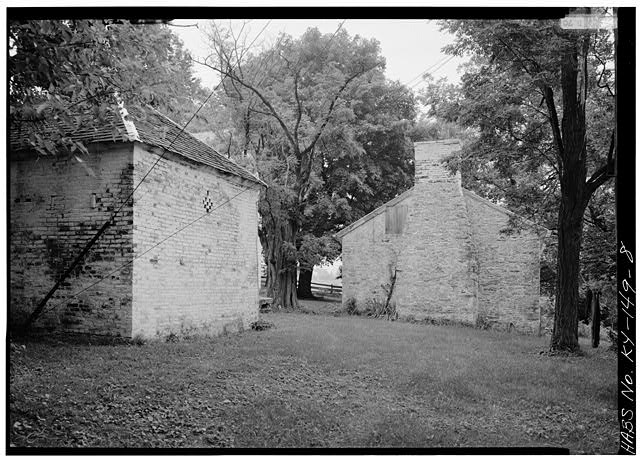 8.  SMOKEHOUSE, TO LEFT; STONE CABIN, TO RIGHT - Spring Bank Farm, 7506 Old Shepherdsville Road, Louisville, Jefferson County, KY