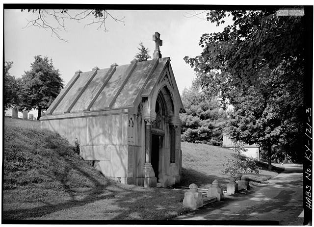 3.  WESTERN VIEW OF THE STRUCTURE - Cave Hill Cemetery, Salve-Bullett Mausoleum, Cave Hill Cemetery, Louisville, Jefferson County, KY