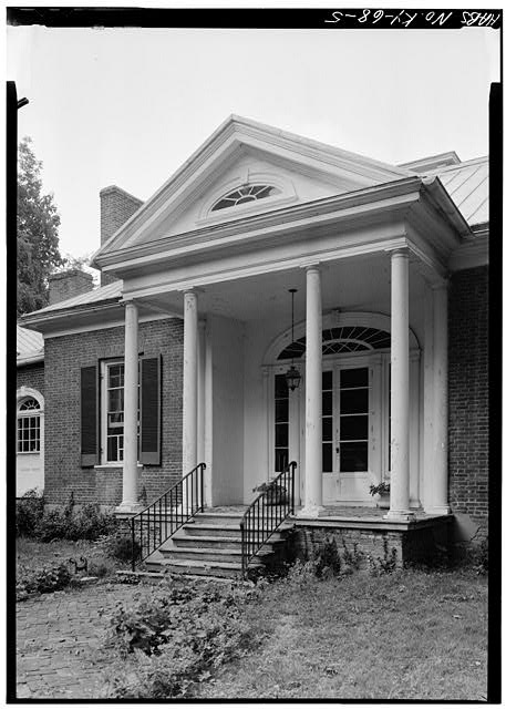 DETAIL OF PORTICO, SOUTHWEST (FRONT) ENTRANCE, FROM SOUTH - Ridgeway, 4095 Massey Avenue, Saint Matthews, Jefferson County, KY