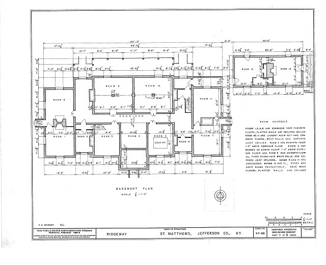 HABS KY,56-SAMA,2- (sheet 1 of 9) - Ridgeway, 4095 Massey Avenue, Saint Matthews, Jefferson County, KY