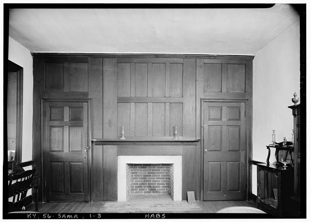 3.  Historic American Buildings Survey Lester Jones, Photographer May 26, 1940 SOUTH WALL, SOUTHEAST ROOM, SECOND FLOOR - Zachary Taylor House, 5608 Apache Road (formerly Blankenbaker Lane), Saint Matthews, Jefferson County, KY