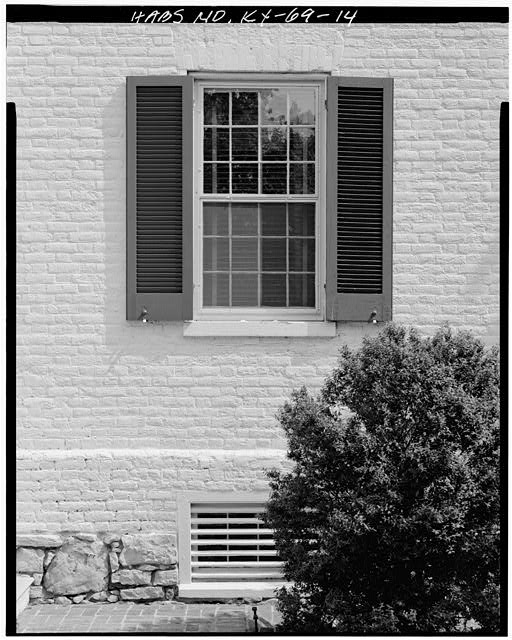14.  NORTH VIEW OF FRONT WINDOW - Zachary Taylor House, 5608 Apache Road (formerly Blankenbaker Lane), Saint Matthews, Jefferson County, KY