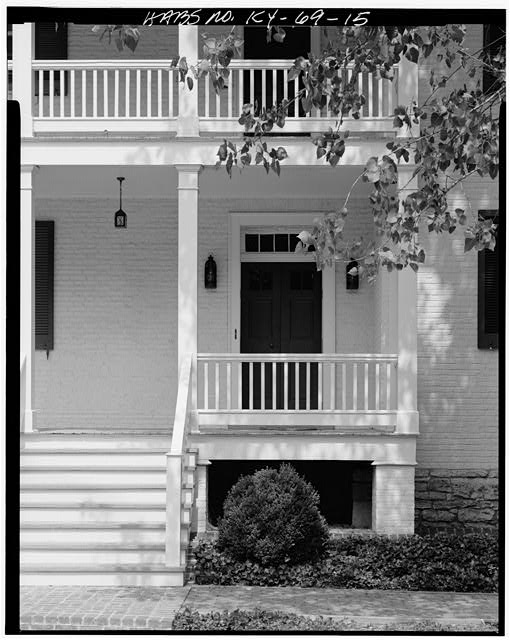 15.  SOUTH VIEW OF REAR ENTRANCE AND TWO-STORY VERANDA - Zachary Taylor House, 5608 Apache Road (formerly Blankenbaker Lane), Saint Matthews, Jefferson County, KY