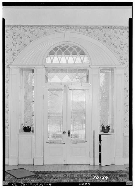 6.  Historic American Buildings Survey Theodore Webb, Photographer, Mar. 19, 1934 DETAIL OF MAIN ENTRANCE (INTERIOR) - Farmington, 3033 Bardstown Road, Louisville, Jefferson County, KY