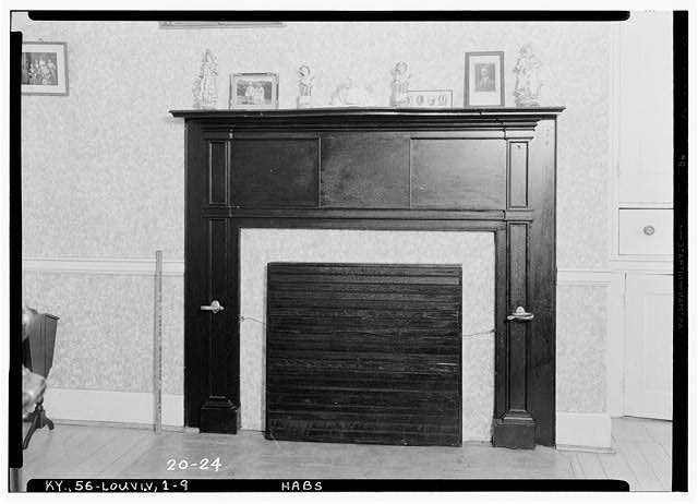 9.  Historic American Buildings Survey Theodore Webb, Photographer, Mar. 19, 1934 DETAIL OF MANTLE (SOUTHWEST PARLOR) - Farmington, 3033 Bardstown Road, Louisville, Jefferson County, KY