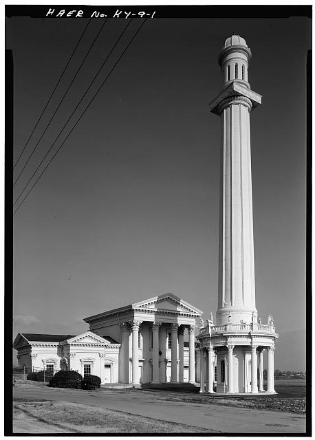 1.  General view of Pump Station No. 1 and the standpipe tower from the west. - Louisville Water Company Pumping Stations, Zorn Avenue & River Road, Louisville, Jefferson County, KY