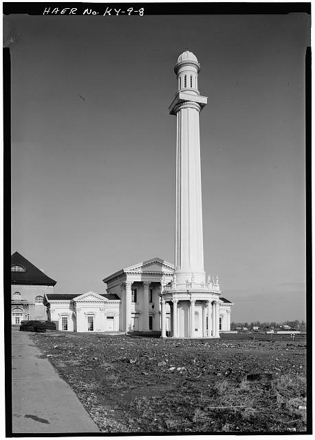 8.  General view of the standpipe tower, with Pumping Station No. 1 behind it, and Pumping Station No. 3 (1919) to the left. - Louisville Water Company Pumping Stations, Zorn Avenue & River Road, Louisville, Jefferson County, KY