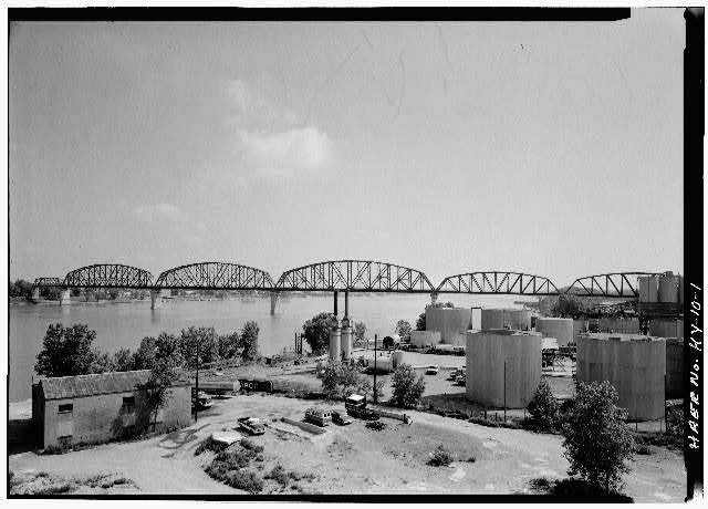 1.  General elevation of the Big Four Bridge from the southwest. - Big Four Bridge, Spanning Ohio River, Louisville, Jefferson County, KY