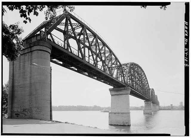 8.  General view of northern approach span. - Big Four Bridge, Spanning Ohio River, Louisville, Jefferson County, KY
