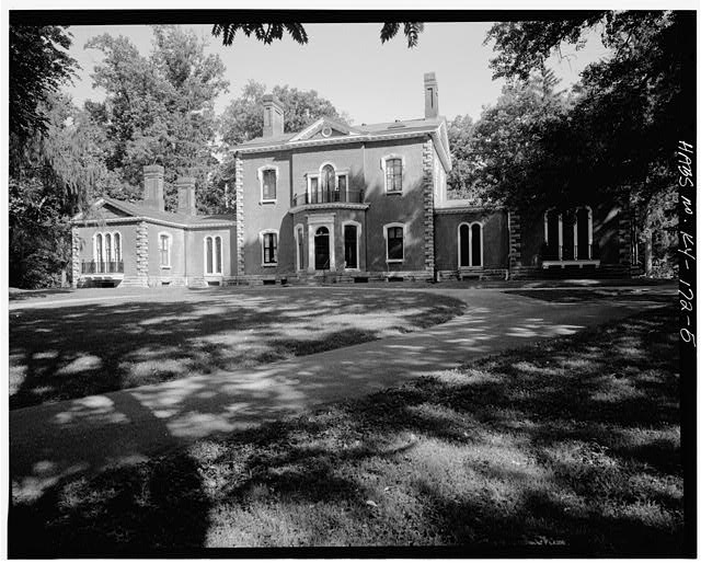 NORTHWEST VIEW OF FACADE ELEVATION - Ashland, Richmond Road, 2 miles Southeast of Lexington, Lexington, Fayette County, KY