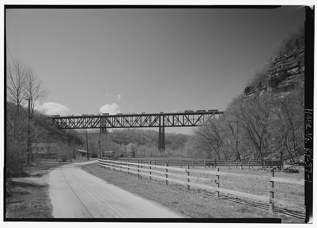 1.  KENTUCKY HIGHBRIDGE LOOKING WEST ON FLOOD PLAIN OF RIVER. - High Bridge, 4 miles Southwest of Wilmore, High Bridge, Jessamine County, KY