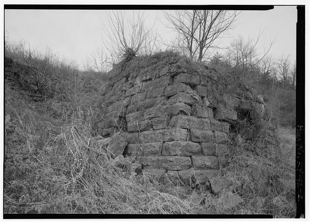 2.  HUNNEWELL STACK LOOKING NE. - Hunnewell Iron Furnace, Junction of State Routes 2 & 1773, Hunnewell, Greenup County, KY