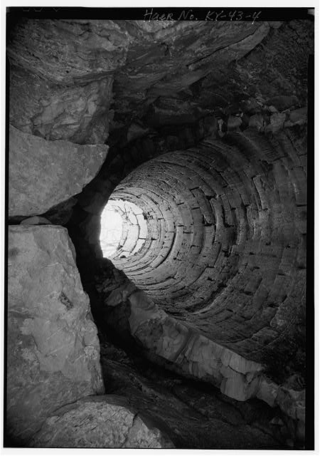 4.  INTERIOR FURNACE STACK LOOKING NORTH. - Laurel Furnace, KY 1 & Laurel Creek Road, Oldtown, Greenup County, KY