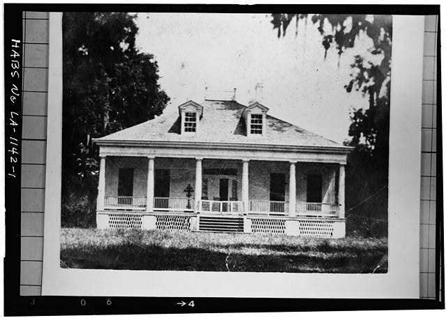 1.  Photocopy of photograph (location of original unknown) Photographer unknown, ca. 1900 WEST ELEVATION - Bagatelle Plantation, East River Road (moved to Iberville Parish), Donaldsonville, Ascension Parish, LA