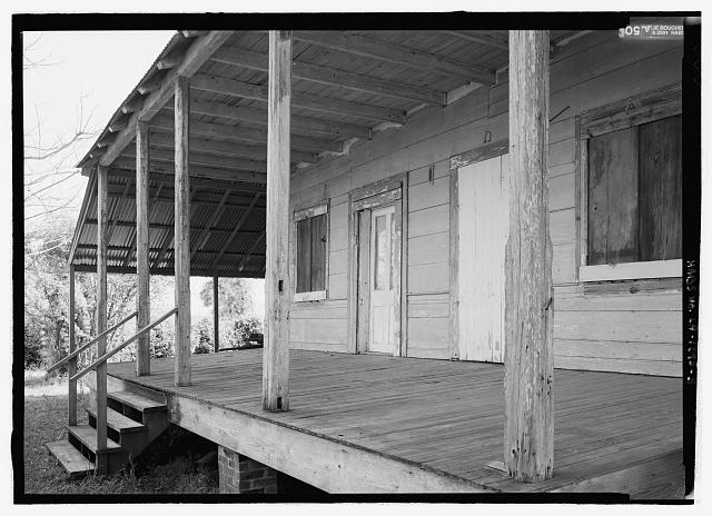 5.  North gallery - Coincoin-Prudhomme House, On dirt road off of Highway 494, about 1 mile Northwest of Bermuda, Natchez, Natchitoches Parish, LA