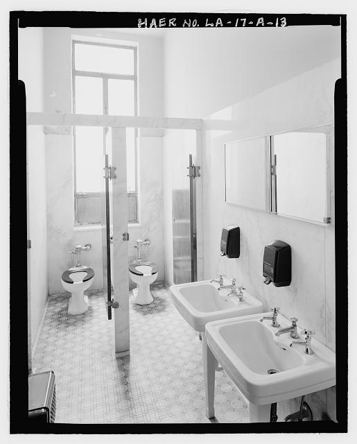 Administration Building interior view of toilet room - Huey P. Long Bridge, Administration Building, 5100 Jefferson Highway, Jefferson, Jefferson Parish, LA