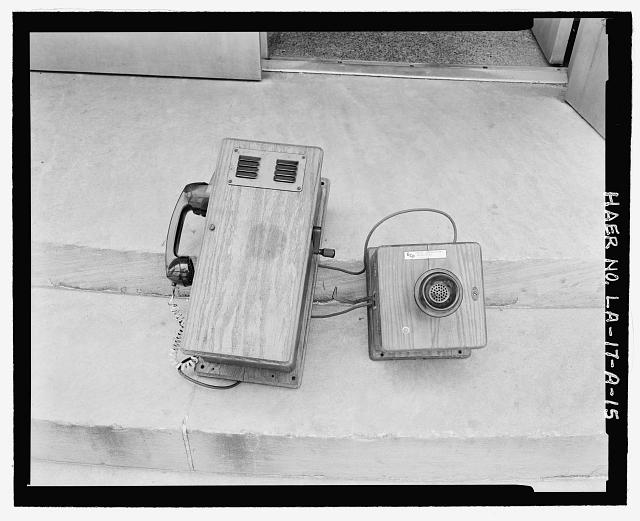 Original wooden telephone receiver and voice boxes - Huey P. Long Bridge, Administration Building, 5100 Jefferson Highway, Jefferson, Jefferson Parish, LA