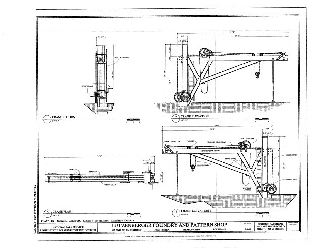 Crane Elevation, Section, and Plan - Lutzenberger Foundry and Pattern Shop, 502 and 505 Jane Street, New Iberia, Iberia Parish, LA