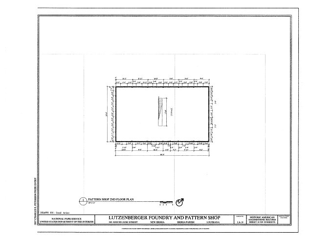 Pattern Shop Second Floor Plan - Lutzenberger Foundry and Pattern Shop, 502 and 505 Jane Street, New Iberia, Iberia Parish, LA