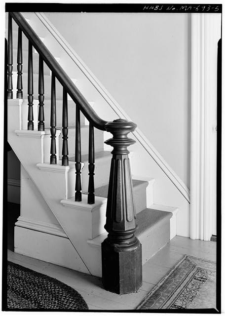 5.  NEWEL POST IN FRONT HALL - Captain Edward Penniman House, Fort Hill Road, Eastham, Barnstable County, MA