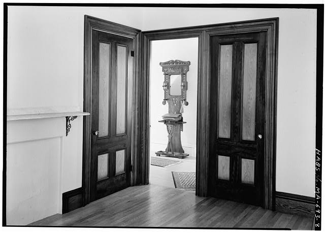 8.  DINING ROOM DOORS, SHOWING HALL STAND - Captain Edward Penniman House, Fort Hill Road, Eastham, Barnstable County, MA