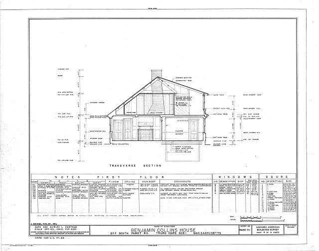 HABS MASS,1-TRU,7- (sheet 4 of 4) - Benjamin Collins House, South Pamet Road, Truro, Barnstable County, MA